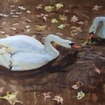 Autumn Swans – Animals, Birds and Plants Art Gallery – Painting by Woking Surrey Artist David Harmer