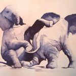 Baby Elephants Playing 1 – Watercolour Art by Woking Surrey Artist David Harmer
