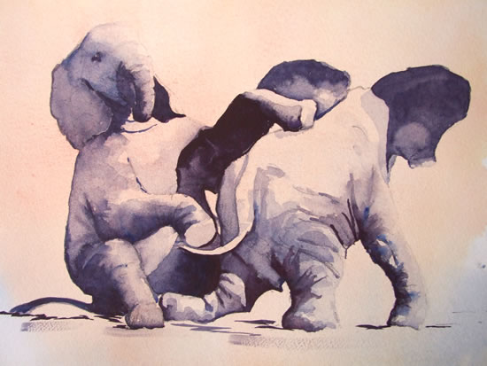 Baby Elephants Playing 1 - Watercolour Art by Woking Surrey Artist David Harmer
