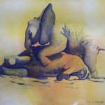 Baby Elephants Playing 2 – Watercolour Art by Woking Surrey Artist David Harmer