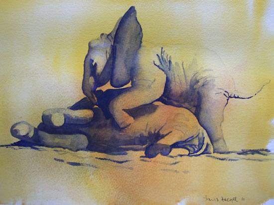 Baby Elephants Playing 2 - Watercolour Art by Woking Surrey Artist David Harmer