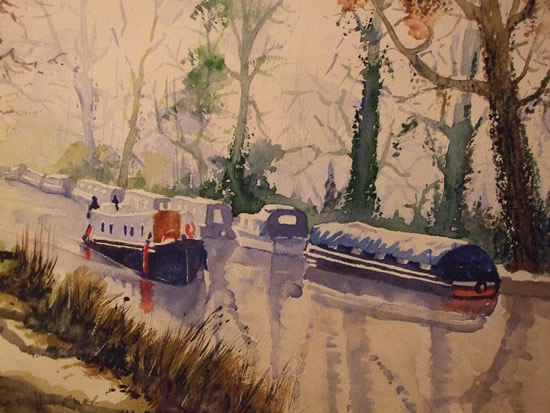 Barges and Boats on Wey Navigation Canal near Pyrford - Waterways & Surrey Art Gallery - Watercolour Painting - Art by Woking Surrey Artist David Harmer