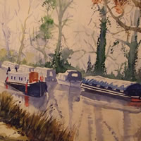 Barges and Boats on Wey Navigation Canal near Pyrford – Waterways & Surrey Art Gallery – Watercolour Painting – Art by Woking Surrey Artist David Harmer