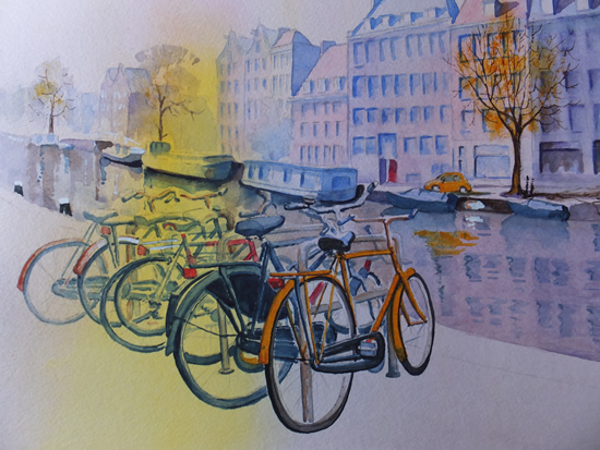 Bikes and Canals in Amsterdam - Europe Art Gallery - Painting by Woking Surrey Artist David Harmer
