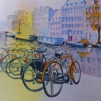 Bikes and Canals in Amsterdam – Europe Art Gallery – Painting by Woking Surrey Artist David Harmer
