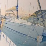 Boat Portrait in St.Katherine's Dock – Britain Art Gallery – Painting by Woking Surrey Artist David Harmer
