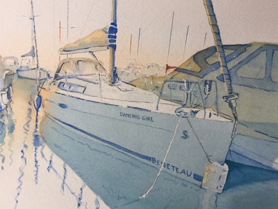 Boat Portrait in St.Katherine's Dock - Britain Art Gallery - Painting by Woking Surrey Artist David Harmer