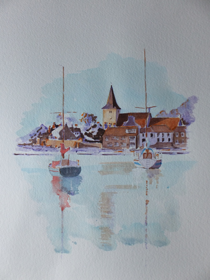 Bosham Harbour & Church 1 - Britain Art Gallery - Painting by Woking Surrey Artist David Harmer