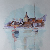Bosham Harbour & Church 1 – Britain Art Gallery – Painting by Woking Surrey Artist David Harmer
