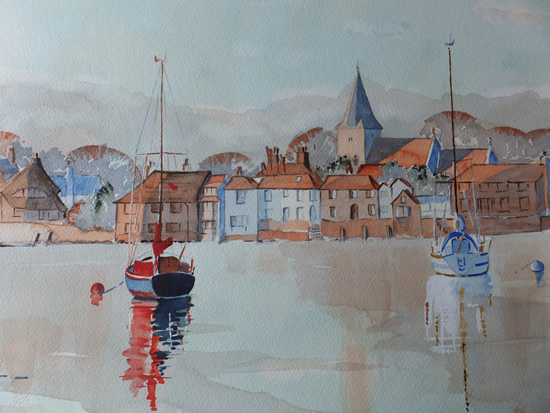 Bosham Harbour & Church 2 - Britain Art Gallery - Painting by Woking Surrey Artist David Harmer