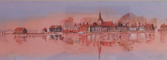Bosham Harbour - Panorama - Britain Art Gallery - Painting by Woking Surrey Artist David Harmer