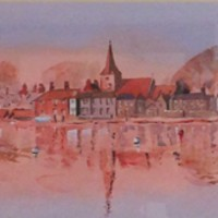 Bosham Harbour – Panorama – Britain Art Gallery – Painting by Woking Surrey Artist David Harmer