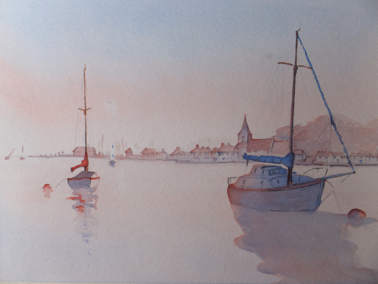 Bosham Sunset - West Sussex Art Gallery - Painting by Woking Surrey Artist David Harmer