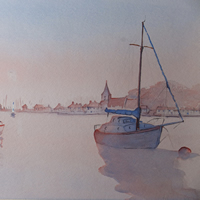 Bosham Sunset – West Sussex Art Gallery – Painting by Woking Surrey Artist David Harmer