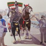 Brewery Dray Guildford – Horses Painting by Woking Surrey Artist David Harmer