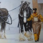 Brewery Drayhorses – Watercolour Painting – Art by Woking Surrey Artist David Harmer
