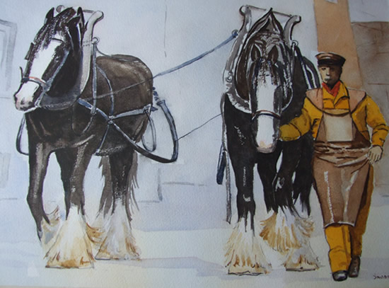 Brewery Drayhorses - Watercolour Painting - Art by Woking Surrey Artist David Harmer