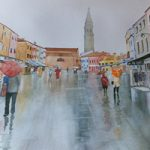 Burano Venice in the Rain – Italy Art Gallery of Woking Surrey Artist David Harmer