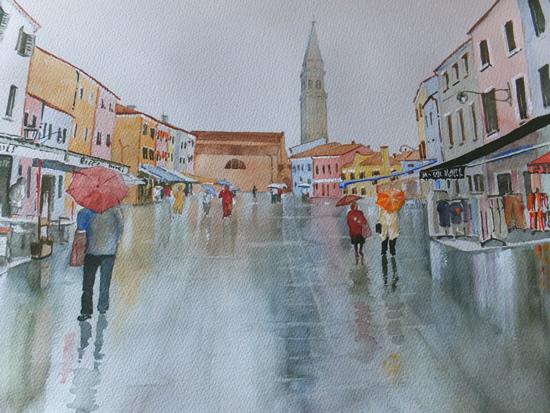 Burano Venice in the Rain - Italy Art Gallery of Woking Surrey Artist David Harmer