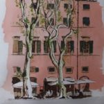 Cafe by the Square, Lucca, Italy – Europe Art Gallery – Painting by Woking Surrey Artist David Harmer