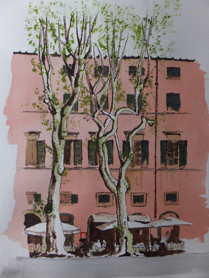 Cafe by the Square, Lucca, Italy - Europe Art Gallery - Painting by Woking Surrey Artist David Harmer