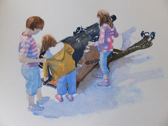 Children on board HMS Warrior Portsmouth Dockyard Art Gallery - Painting by Woking Surrey Artist David Harmer
