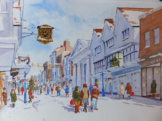 Christmas Shopping in Guildford High Street - Surrey Scenes Art Gallery - Painting by Woking Surrey Artist David Harmer