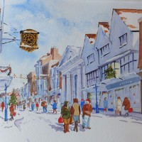 Christmas Shopping in Guildford High Street – Surrey Scenes Art Gallery – Painting by Woking Surrey Artist David Harmer