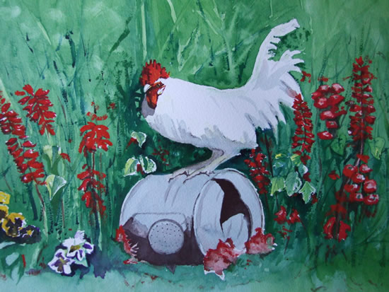 Cockeral And Old Can - Watercolour Painting - Art by Woking Surrey Artist David Harmer