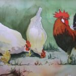 Cockerel with Hens – Animals and Plants Art Gallery – Painting by Woking Surrey Artist David Harmer