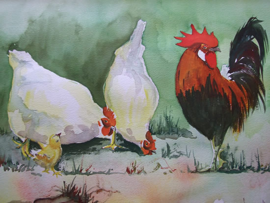 Cockerel with Hens - Animals and Plants Art Gallery - Painting by Woking Surrey Artist David Harmer