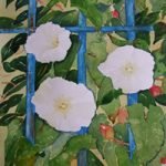 Convulvulus With Blue Railings – Flowers Art Gallery – Painting by Woking Surrey Artist David Harmer