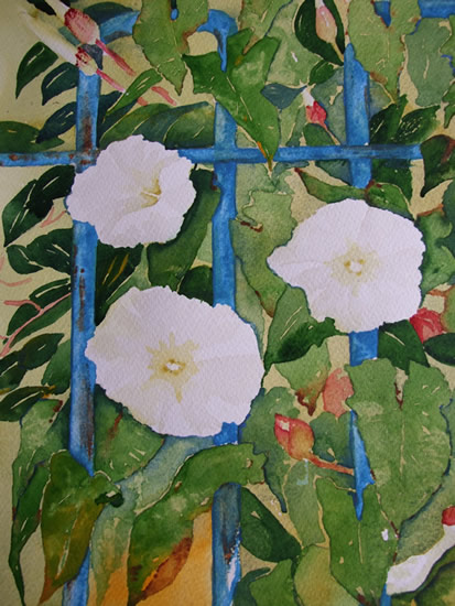 Convulvulus With Blue Railings - Flowers Art Gallery - Painting by Woking Surrey Artist David Harmer
