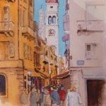 Corfu – Shopping Lanes in Kerkyra – Europe Art Gallery – Painting by Woking Surrey Artist David Harmer