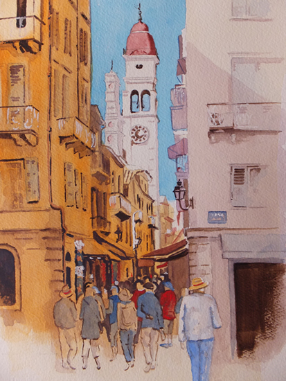 Corfu - Shopping Lanes in Kerkyra - Europe Art Gallery - Painting by Woking Surrey Artist David Harmer