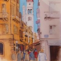Corfu – Shopping Lanes in Kerkyra – Europe Art Gallery – Painting by Woking Surrey Artist David Harmer