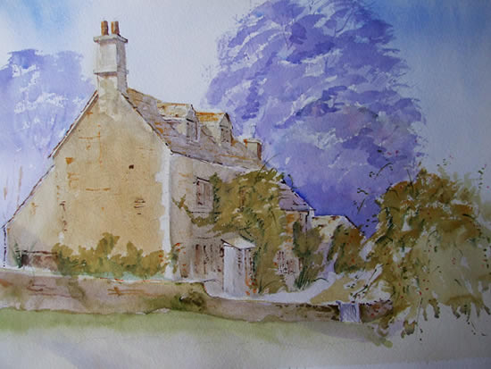 Cotswold Cottage - Britain Art Gallery - Painting by Woking Surrey Artist David Harmer