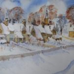 Cotswold Winter – Snow – Britain Art Gallery – Painting by Woking Surrey Artist David Harmer