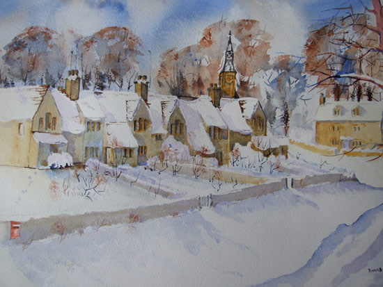 Cotswold Winter - Snow - Britain Art Gallery - Painting by Woking Surrey Artist David Harmer