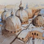 Domed Roof of St.Mark's Basilica, Venice – Europe Art Gallery – Painting by Woking Surrey Artist David Harmer