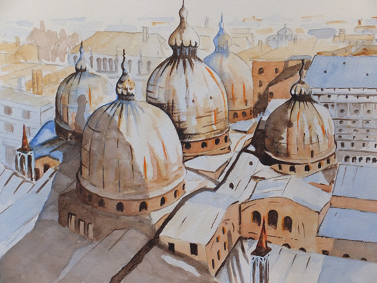 Domed Roof of St. Mark's Basilica, Venice - Europe Art Gallery - Painting by Woking Surrey Artist David Harmer