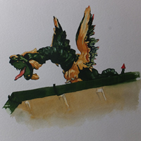 Dragon on the Roof of Kew Gardens Pagoda- Surrey Art Gallery – Painting by Woking Surrey Artist David Harmer