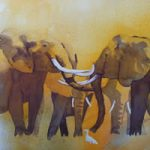 Elephants – Welcome Back – Watercolour Art by Woking Surrey Artist David Harmer