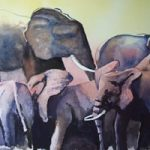 Elephants Waiting For The Rains – Watercolour Art by Woking Surrey Artist David Harmer