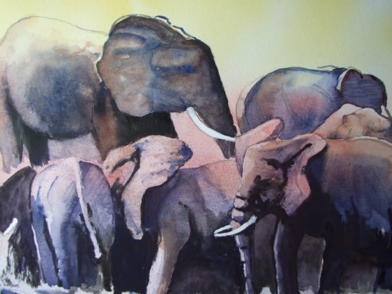 Elephants Waiting For The Rains - Watercolour Art by Woking Surrey Artist David Harmer