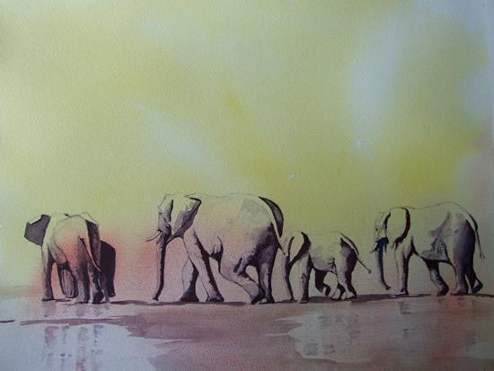 Elephants Waiting for Rain Watercolour Art by Woking Surrey Artist David Harmer
