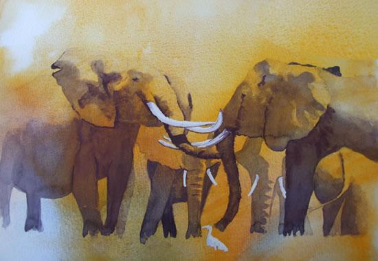 Elephants -Welcome Back - Watercolour Art by Woking Surrey Artist David Harmer