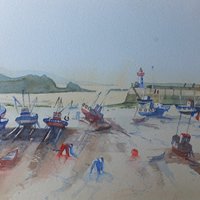 Erquy in Britanny – France Art Gallery – Painting of Boats on Beach