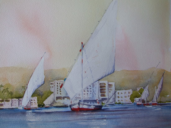 Feluccas at Aswan Egypt - Watercolour Painting - Art Gallery of Woking Surrey Artist David Harmer