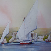 Feluccas at Aswan Egypt- Watercolour Painting – Art Gallery of Woking Surrey Artist David Harmer
